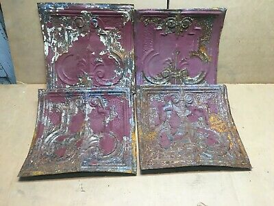 "4pc Lot of 12"" by 11"" Antique Ceiling Tin Vintage Reclaimed Salvage Art Craft"
