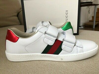 f0cd8a1cff4 Nib Gucci New Ace Red Green Striping Classic Sneakers Shoes Kids Us 4 Woman  36 6