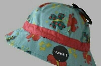 *BNWT* Hatley Girls Purple Flower Hearts Bright Pink Reversible Sun Hat Pretty