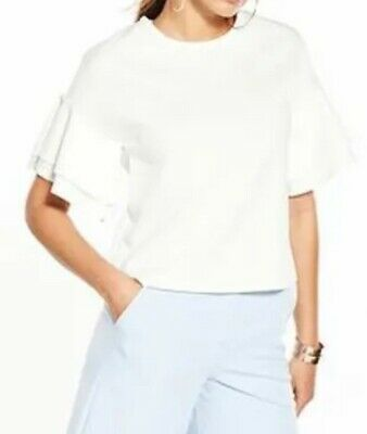 New V By Very Frill Crepe Top - Ivory - Size 18