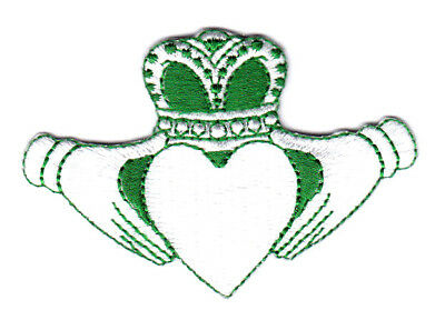 IRISH CLADDAGH GREEN & WHITE IIron On Patch Shamrock Lucky St. Patrick's Day