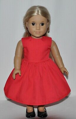 Solid Red Doll Dress For American Girl Doll Clothes