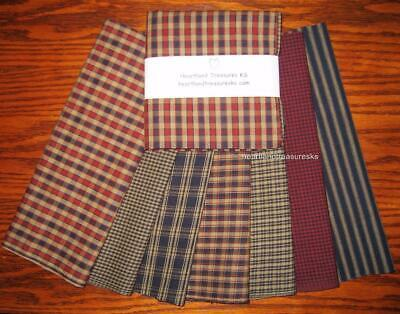 """Dunroven House 7 Homespun Fabric Navy ~ Wheat  ~ Red  10"""" Layer Cake Bundle"""