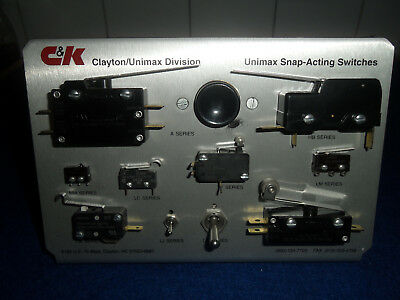C&K Unimax Switch Display Stand Cira 1994 Populated With 11 Unused Switches LPB9