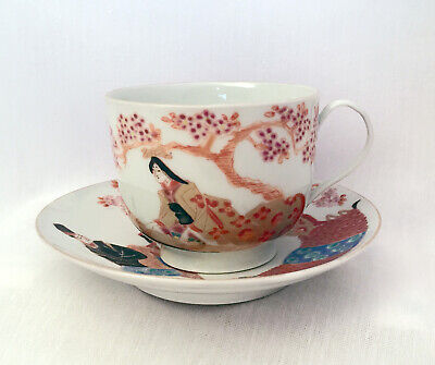 Hichozan Sinpo marked hand painted Cup & Saucer Japanese Meiji 1868-1894 #467