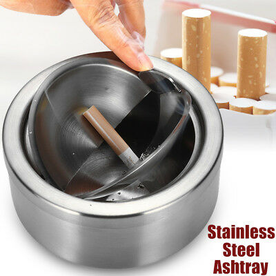 Round Stainless Steel Cigarette Lidded Ashtray Silver Portable Windproof Ashtra