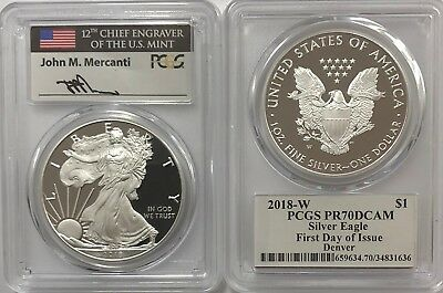 2018 W Proof Silver Eagle Pcgs Pr70 Dcam Mercanti First Day Of Issue Denver