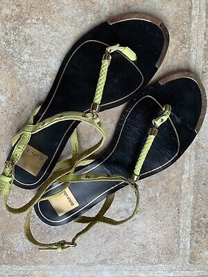 8a82194638440 DOLCE VITA Leather T-Strap Thong Flat Sandals Size 9.5 M Womens Citrus  Yellow