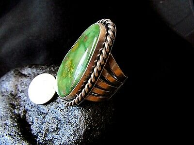 ANTIQUE TURQUOISE AND STERLING FASHION STYLE RING - size 12.5
