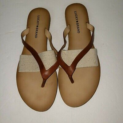 507e96a8a Lucky Brand Slip on Flip Flops Thongs Sandals BROWN Leather Strap Size 8.5