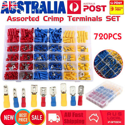 720PCS Electrical Wire Connector Assorted Insulated Crimp Terminals Spade Set
