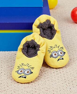 New! Despicable Me Minion Boys Slipper Socks Fits Shoe Size 7.5 To 3.5