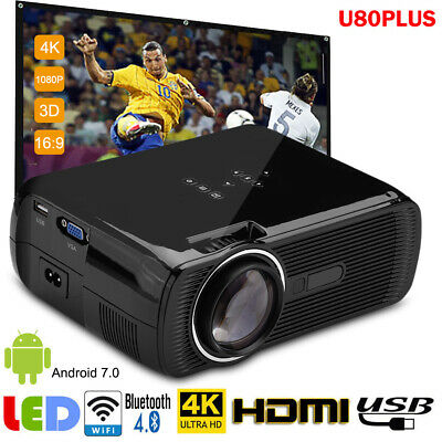4K 1080P LED HD Mini Projector Home Theater Cinema Android 7.0 WiFi Bluetooth