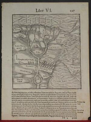 Egypt 1552 Sebastian Münster Unusual Antique Original Woodcut Map Latin Edition