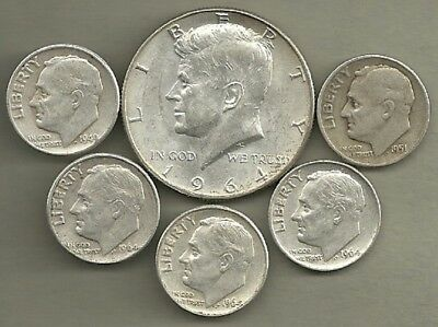 1964 Kennedy Half Dollar & Roosevelt Dimes - 90% Silver - US Coin Lot - 6 Coins