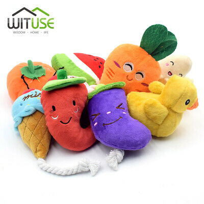 pet dog cat squeaky snack/vegetable shape soft plush chew tooth cleaning toy D0