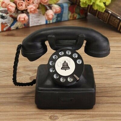 Resin Home Ornaments Vintage 1940s Western Black Rotary Handset Desk Phone