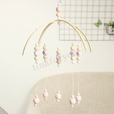 DIY Wooden Beads Baby Crib Mobile Bed Bell Holder Arm Bracket Wind-up Toy