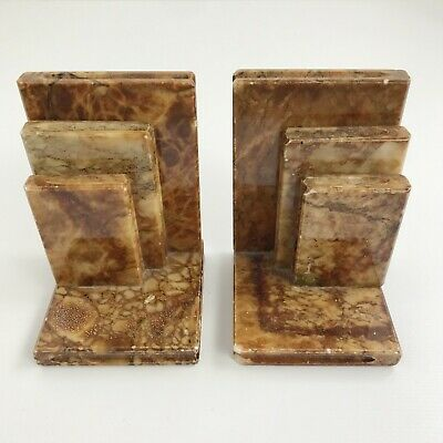 Vintage Genuine Alabaster Hand Carved Bookends Made In Italy Library Decor