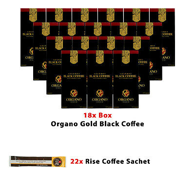 18 Boxes ORGANO Gold Gourmet Black Coffee+Free 18 Sachets Hot Chocolate+shipping
