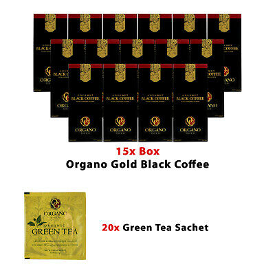 15 Boxes ORGANO Gold Gourmet Black Coffee+Free 20 Sachets Hot Chocolate+shipping
