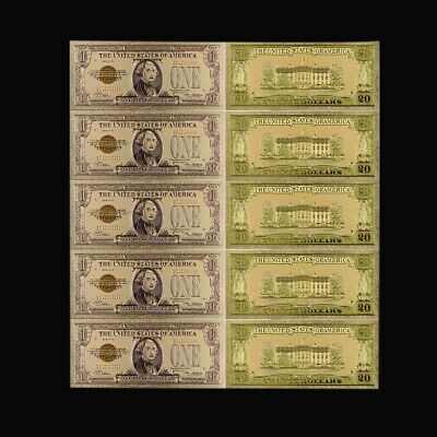 5pcs One Dollar 24k Gold Banknote 1928 Year Bill Note Festival Souvenir Gifts