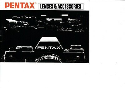 Genuine Pentax Lenses And Accessories Manual 1980's Era Lx Me-F Mg Mx K1000 P3O