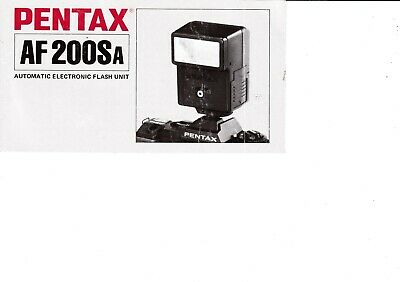 Genuine Pentax Af200Sa Automatic Flash Unit Manual