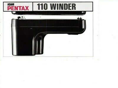 Genuine Pentax 110 Winder  Manual 9 Pages For Mini Slr Auto 110 System Camera