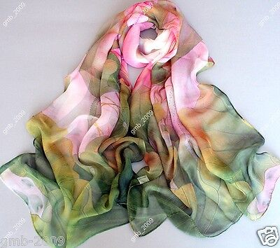 Women Scarves Shawl Lotus Flower Print Long Chiffon Hijab Scarf Wraps