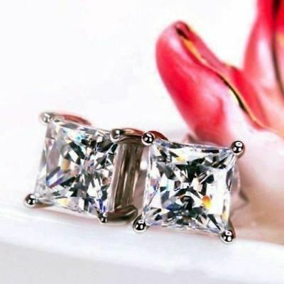 2.00 Ct Princess Cut Diamonds Solitaire Stud Earrings 14K White Gold Over