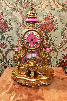 Antique French Desk Mantel Clock with Wooden Stand P.H. Mourey Vintage Gold Pink