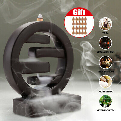Ring Ceramic Backflow Incense Burner Smoke Cones Holder Sticks Censer Clay New