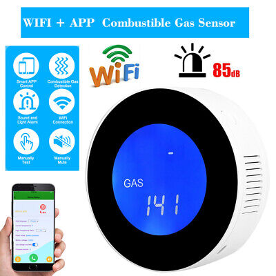 LCD Display WIFI Combustible Gas Leak Detector 85dB Smart Gas Alarm Sensor DC 5V