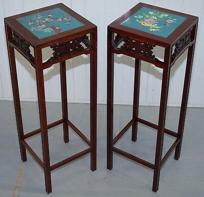 Pair Of Rosewood Chinese Chen Leung Plant Pot Jardiniere Stand Signed Fret Tiles