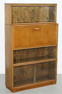 1950's English Modular Minty Oxford Vintage Stacking Legal Bookcase Desk Tidy