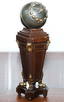 19Th Century Mantle Clock With Pedestal Column Base Mystery Style Face Bronze