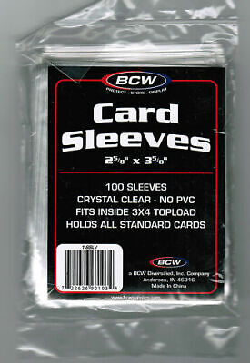 BCW Soft Sleeves 100 ct Sports Baseball Football Basketball (2-5/8 X 3-5/8) Neu