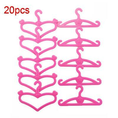20Pcs Mini Barbie Size Dolls Hook Rack Coat Dress Clothing Hangers Baby Pink