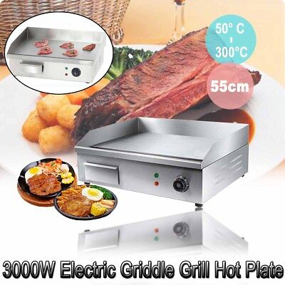 3000W Stainless Steel Electric Griddle Countertop Hot Plate Commercial BBQ Grill