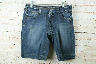 8768dfe93a Industrial Cotton Womens Jean Shorts Size 9 Embroidered Pockets Blue Denim