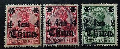 Germany 1889 3 X Stamps Used In China