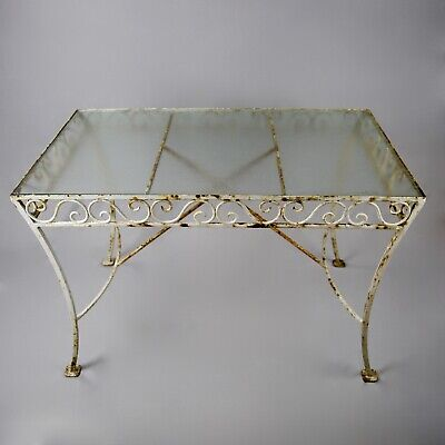 Vintage 1950s Mid-20th C French Wrought Iron Garden / Dressing Table, Glass Top