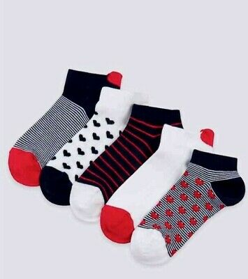 New 5 Pairs Girls Socks 3-6 Years 8.5-12 Shoe Size Marks & Spencer Navy Mix Trai