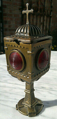 """19thC Antique French Bronze Church Tomb Grave Lamp Remembrance Lantern 9.5""""Tall"""