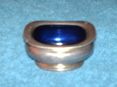 mappin & webb silver plated salt  with liner coope hotels 7 cm x 5 cm x 4 cm