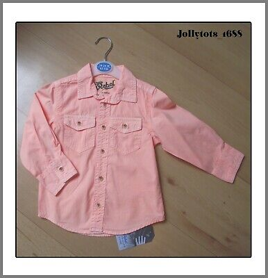 New Primark Baby Boys Long Sleeved Shirt Age 18-24 Months Salmon Cotton Shirt