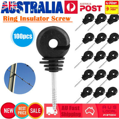 100Pcs Screw In Ring Insulators Electric Fence Timber Post Tape Poly Wire Cord