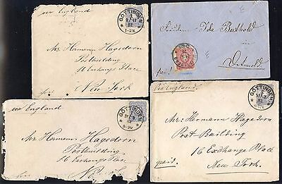 GÖTTINGEN 1878-82 4 COVERS to NEW YORK, USA