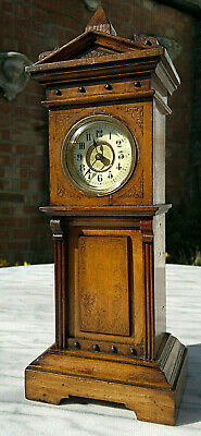 "Antique Victorian Miniature Longcase Grandfather Clock~Working~11.5""Tall"